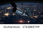 Hubble telescope and Atmosphere. 3d illustration