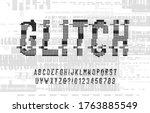 glitch alphabet font. digital... | Shutterstock .eps vector #1763885549