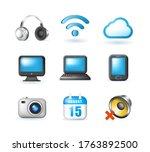 set of realistic cute elegant... | Shutterstock .eps vector #1763892500