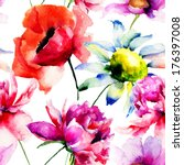 seamless pattern with peony and ... | Shutterstock . vector #176397008