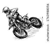 drawing of the motocross...   Shutterstock .eps vector #1763988056