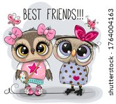 Two Cute Cartoon Owls On A...