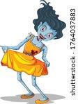 creepy zombie girl cartoon... | Shutterstock .eps vector #1764037883