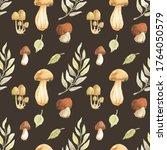 Mushrooms Leaves Edible Autumn...