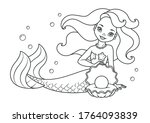 mermaid with pearl coloring page | Shutterstock .eps vector #1764093839