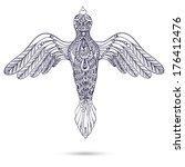 unique doodle bird on white...   Shutterstock . vector #176412476