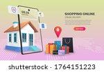 online delivery service concept ... | Shutterstock .eps vector #1764151223