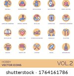 Hobby icons including paintball, woodworking, metalworking, watchmaking, model crafting, landscape gardening, organic farming, recycling, composting, hydroponic, recycled art, animal care, genealogy. - stock vector
