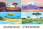 set of african landscapes.... | Shutterstock .eps vector #1764164636