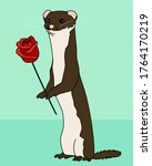Cute Weasel With A Rose