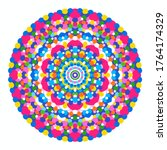 happy colorful mandala ornament ... | Shutterstock .eps vector #1764174329