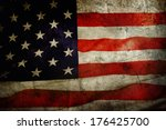 closeup of grunge american flag | Shutterstock . vector #176425700