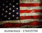 closeup of grunge american flag | Shutterstock . vector #176425700