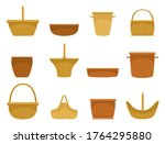 wicker basket assortment flat... | Shutterstock .eps vector #1764295880