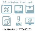 raster icon set of 3d printing...