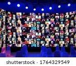 Blur large led screen show many ...
