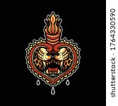 tiger mouth oldschool...   Shutterstock .eps vector #1764330590