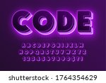 futuristic sci fi alphabet ... | Shutterstock .eps vector #1764354629