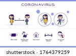 covid 19 illustration with kids ... | Shutterstock .eps vector #1764379259