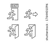 exit line icons set  vector... | Shutterstock .eps vector #1764401096
