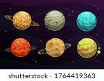Fantasy Space Planets Cartoon...