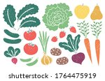 grunge farm produce set with... | Shutterstock .eps vector #1764475919