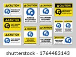 caution face masks required... | Shutterstock .eps vector #1764483143