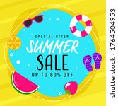summer sale poster design with... | Shutterstock .eps vector #1764504953