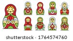 Nesting Doll Icons Set. Outlin...