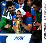 Small photo of Berlin, GERMANY - July 09, 2006: Francesco Totti kisses the trophy during the 2006 FIFA World Cup Germany Final Italy v France at the Olympiastadion.
