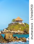 small shack with a palm tree... | Shutterstock . vector #176460920