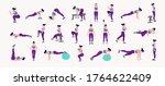 workout girl set. woman doing... | Shutterstock .eps vector #1764622409