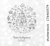 card with princess' accessories....   Shutterstock .eps vector #176465579