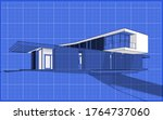 3d rendering of modern cozy house on the hill with garage and pool for sale or rent.  Black line sketch with soft light shadows and white spot on blueprint background. - stock photo