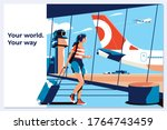 travel tourist standing with... | Shutterstock .eps vector #1764743459