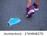 the used mask on the floor with ...   Shutterstock . vector #1764848270