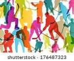 active young men ice hockey...   Shutterstock .eps vector #176487323