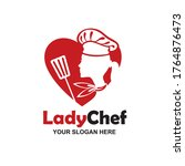 chef woman silhouette with... | Shutterstock .eps vector #1764876473