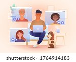 group for young smile people... | Shutterstock .eps vector #1764914183