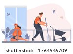 family characters working in... | Shutterstock .eps vector #1764946709