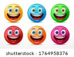 smiling faces emoticon...   Shutterstock .eps vector #1764958376