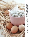 easter eggs in a pink cup close ... | Shutterstock . vector #176496188