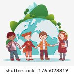 cute kids holding hands. back... | Shutterstock .eps vector #1765028819