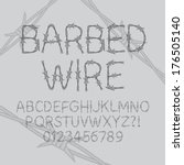 barbed wire font and numbers ... | Shutterstock .eps vector #176505140