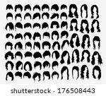 vector set of women's hairstyles | Shutterstock .eps vector #176508443