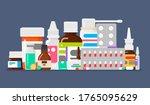 set of various medicines.... | Shutterstock .eps vector #1765095629