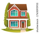 brick two story house in the... | Shutterstock .eps vector #1765095953