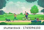 people walk  run and ride a... | Shutterstock .eps vector #1765096103