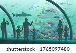 people in the oceanarium.... | Shutterstock .eps vector #1765097480