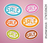 oval paper sale titles on pink... | Shutterstock . vector #176510624